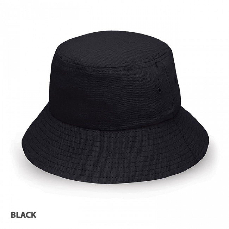 BUCKET HAT HEAVY BRUSHED COTTON BLACK L-XL