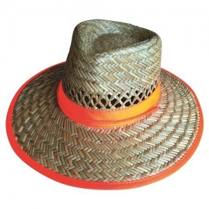 HAT STRAW HIVIZ ORANGE BAND