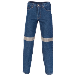 TROUSERS - JEANS STRETCH DENIM BLUE WITH REFLECTIVE