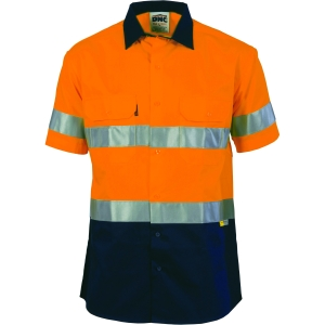 SHIRT COTTON DRILL O/N SHORT SLEEVE WITH REFLECTIVE