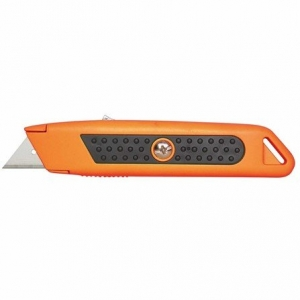 KNIFE SAFETY ORANGE RUBBER GRIP AUTO RET