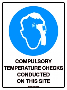 SIGN COMPULSORY TEMPERATURE CHECKS POLY 300X225MM
