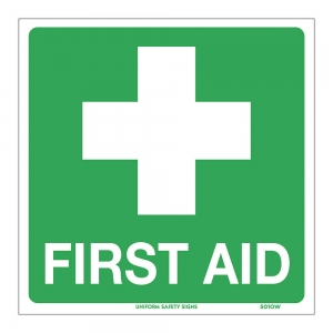 SIGN FIRST AID 225X225 POLY