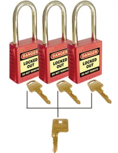 LOCK SAFETY RED KEYED ALIKE 3LOCKS-1SET