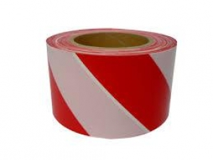 BARRIER TAPE RED/WHITE 75MM X 100M